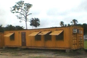 LIVING QUARTER CONTAINER / 2 ROOMS INCL. SHOWER: 40FT STEEL CONTAINER other side view for rent Nigeria